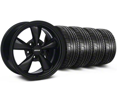 Staggered Bullitt Solid Gloss Black Wheel & Mickey Thompson Tire Kit - 18x9/10 (05-10 GT; 05-14 V6)