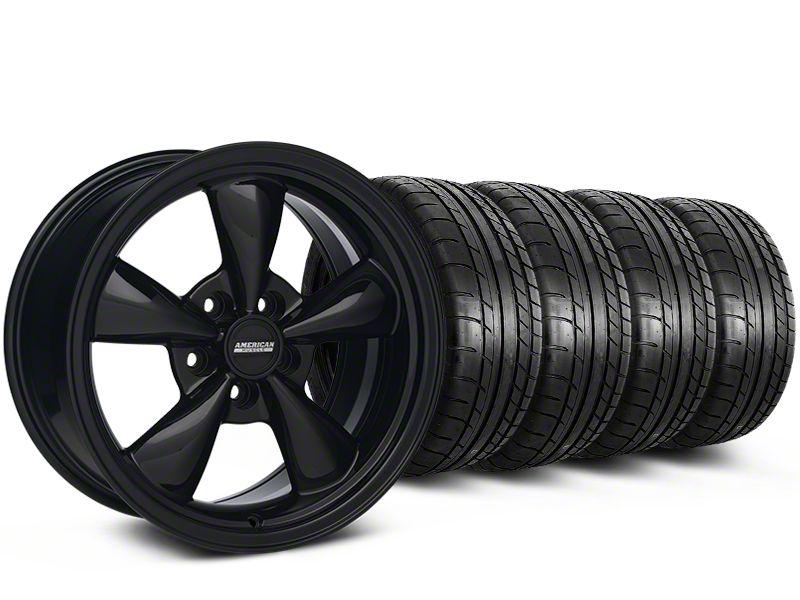 Staggered Bullitt Solid Gloss Black Wheel & Mickey Thompson Tire Kit - 18x9/10 (05-10 GT; 05-14 V6)