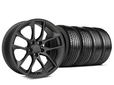 Staggered Magnetic Style Charcoal Wheel & Pirelli Tire Kit - 19x8.5/10 (05-14 All)