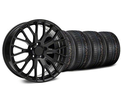 Staggered Performance Pack Style Black Wheel & NITTO Tire Kit - 20x8.5/10 (15-19 GT, EcoBoost, V6)