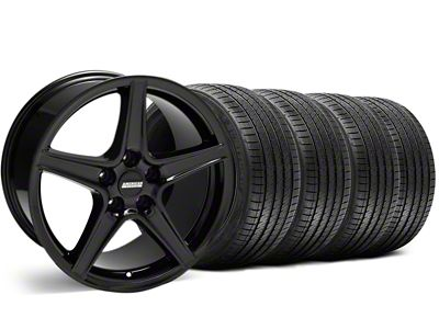 Staggered Saleen Style Black Wheel & Sumitomo Tire Kit - 18x9/10 (99-04 All)