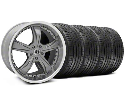Staggered Shelby Razor Gunmetal Wheel & Sumitomo Tire Kit - 20x9/10 (05-14 All, Excluding 13-14 GT500)