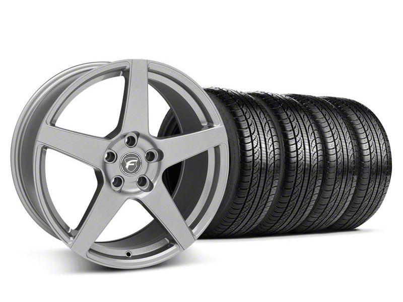 Staggered Forgestar CF5 Gunmetal Wheel & Pirelli Tire Kit - 19x9/10 (05-14 All)