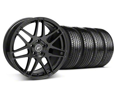 Staggered Forgestar F14 Piano Black Wheel & Pirelli Tire Kit - 19x9/10 (05-14 All)