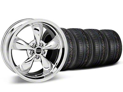 Staggered Bullitt Chrome Wheel & NITTO INVO Tire Kit - 19x8.5/10 (05-14 Standard GT, V6)