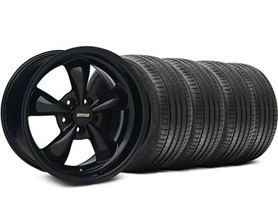 Staggered Bullitt Solid Gloss Black Wheel & Sumitomo Tire Kit - 18x9/10 (05-10 GT; 05-14 V6)
