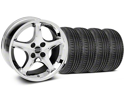 Staggered 1995 Cobra R Style Chrome Wheel & Sumitomo Tire Kit - 17x8/9 (87-93 All, Excluding Cobra)