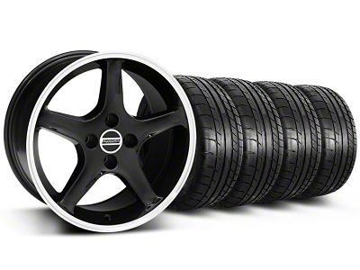 Staggered 1995 Cobra R Style Black w/ Machined Lip Wheel & Mickey Thompson Tire Kit - 17x8/9 (87-93 All, Excluding Cobra)