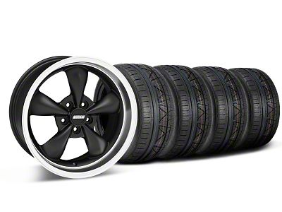 Staggered Bullitt Deep Dish Matte Black Wheel & NITTO INVO Tire Kit - 18x9/10 (05-10 GT; 05-14 V6)