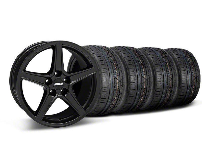 Staggered Saleen Style Matte Black Wheel & NITTO INVO Tire Kit - 18x9/10 (05-14 GT, V6)