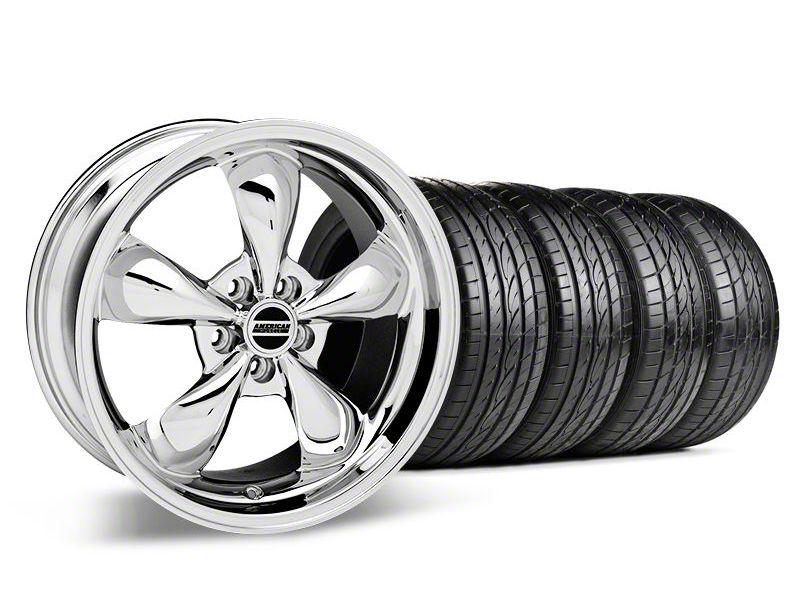 Staggered Deep Dish Bullitt Chrome Wheel & Sumitomo Tire Kit - 19x8.5/10 (05-14 Standard GT, V6)