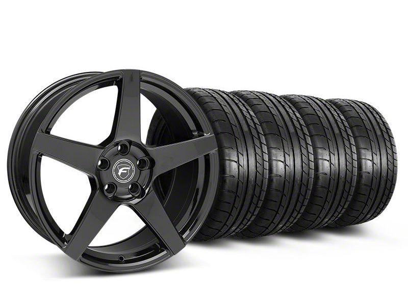Staggered Forgestar CF5 Monoblock Gloss Black Wheel & Mickey Thompson Tire Kit - 19x9/10 (05-14 All)