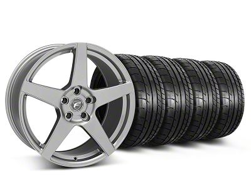 Staggered Forgestar CF5 Monoblock Gunmetal Wheel & Mickey Thompson Tire Kit - 19x9/10 (05-14 All)