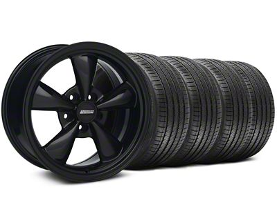 Staggered Bullitt Solid Gloss Black Wheel & Sumitomo Tire Kit - 18x9/10 (94-98 All)