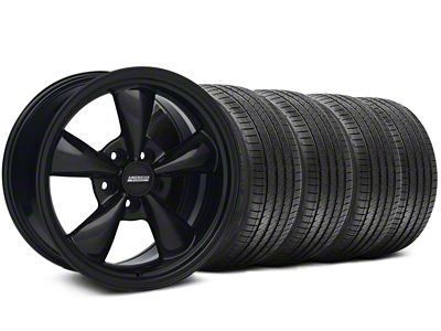 Staggered Bullitt Solid Gloss Black Wheel & Sumitomo Tire Kit - 18x9/10 (99-04 All)