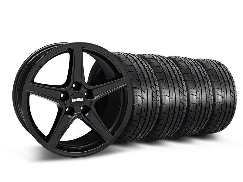 Saleen Style Matte Black Wheel & Mickey Thompson Tire Kit - 18x9 (05-14 GT, V6)