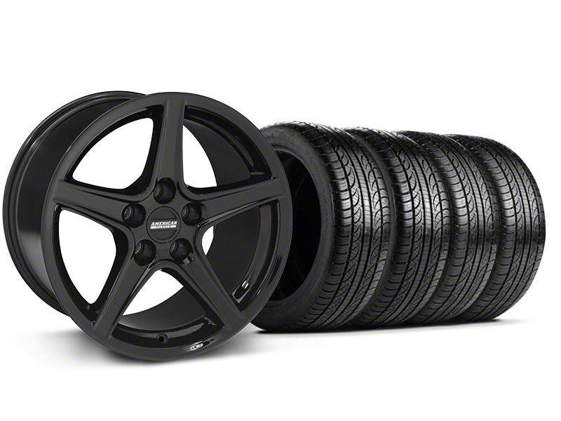 Saleen Style Black Wheel & Pirelli Tire Kit - 19x8.5 (05-14 GT, V6)