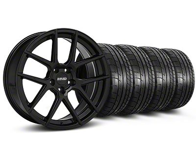 Staggered MMD Zeven Black Wheel & Mickey Thompson Tire Kit - 20 in. - 2 Rear Options (15-19 All)