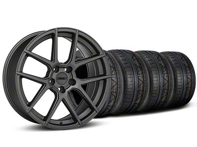 Staggered MMD Zeven Charcoal Wheel & NITTO INVO Tire Kit - 19x8.5/10 (15-19 GT, EcoBoost, V6)