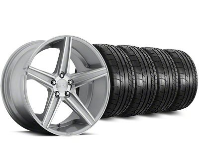 Staggered Niche Apex Machined Silver Wheel & Mickey Thompson Tire Kit - 20 in. - 2 Rear Options (15-19 All)