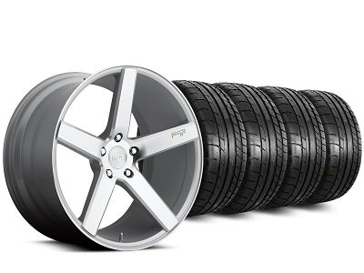 Staggered Niche Milan Silver Wheel & Mickey Thompson Tire Kit - 20 in. - 2 Rear Options (15-19 All)