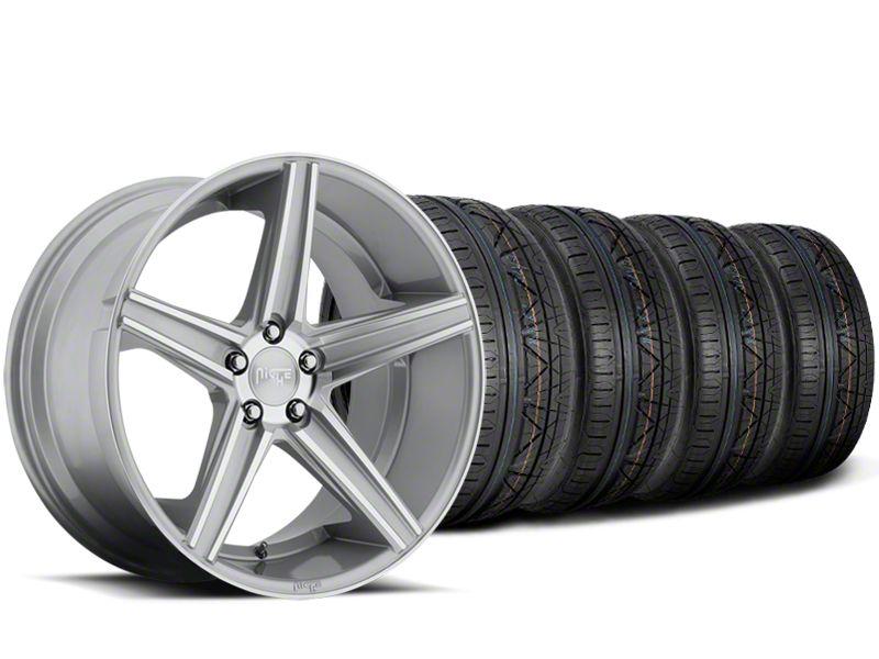 Staggered Niche Apex Machined Silver Wheel & NITTO INVO Tire Kit - 20x8.5/10 (15-19 All)