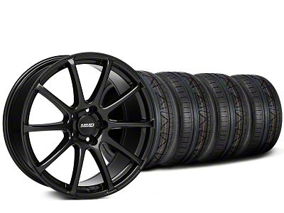 Staggered MMD Axim Gloss Black Wheel & NITTO INVO Tire Kit - 20x8.5/10 (15-19 GT, EcoBoost, V6)