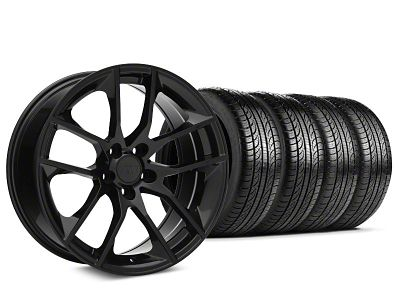 Staggered Magnetic Style Black Wheel & Pirelli Tire Kit - 19x8.5/10 (15-19 GT, EcoBoost, V6)