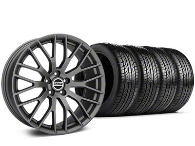Staggered Performance Pack Style Charcoal Wheel & Pirelli Tire Kit - 19x8.5 (15-19 All)