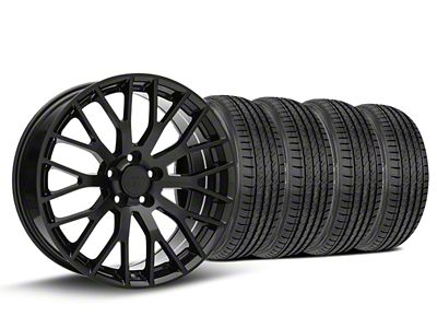 Staggered Performance Pack Style Black Wheel & Sumitomo Tire Kit - 19x8.5 (15-19 GT, EcoBoost, V6)