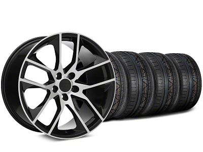 Staggered Magnetic Style Black Machined Wheel & NITTO INVO Tire Kit - 19x8.5/10 (15-19 GT, EcoBoost, V6)