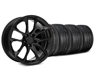 Staggered Magnetic Style Black Wheel & NITTO INVO Tire Kit - 19x8.5/10 (15-19 GT, EcoBoost, V6)