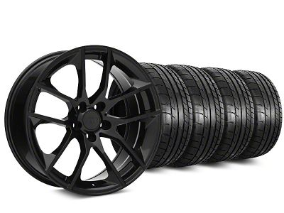 Staggered Magnetic Style Black Wheel & Mickey Thompson Tire Kit - 19x8.5/10 (15-19 GT, EcoBoost, V6)