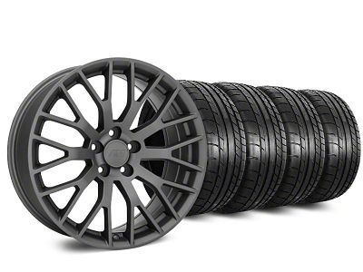 Staggered Performance Pack Style Charcoal Wheel & Mickey Thompson Tire Kit - 20 in. - 2 Rear Options (15-19 All)