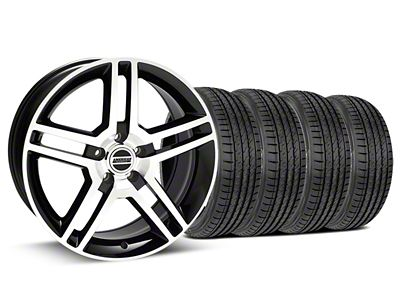 Staggered 2010 GT500 Style Black Machined Wheel & Sumitomo Tire Kit - 19x8.5/10 (15-19 GT, EcoBoost, V6)