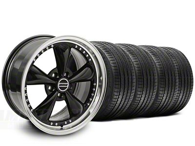 Staggered Bullitt Motorsport Black Wheel & Sumitomo Tire Kit - 20x8.5/10 (15-19 EcoBoost, V6)