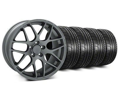 Staggered AMR Charcoal Wheel & Mickey Thompson Tire Kit - 20 in. - 2 Rear Options (15-19 GT, EcoBoost, V6)