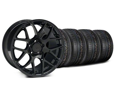 Staggered AMR Black Wheel & NITTO INVO Tire Kit - 20x8.5/10 (15-19 GT, EcoBoost, V6)
