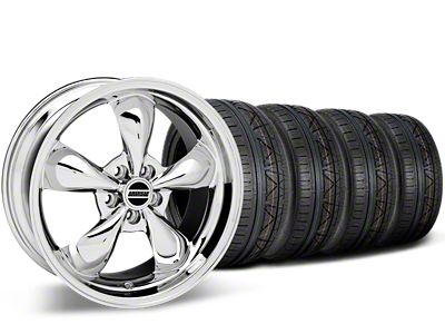 Staggered Deep Dish Bullitt Chrome Wheel & NITTO INVO Tire Kit - 20x8.5/10 (15-19 EcoBoost, V6)