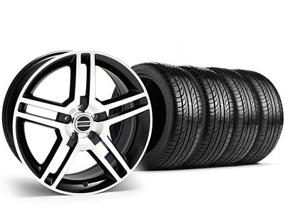 Staggered 2010 GT500 Style Black Machined Wheel & Pirelli Tire Kit - 19x8.5/10 (15-19 All)