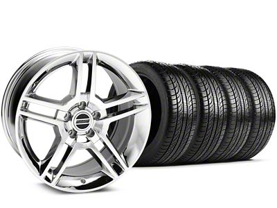 Staggered 2010 GT500 Style Chrome Wheel & Pirelli Tire Kit - 19x8.5/10 (15-19 All)