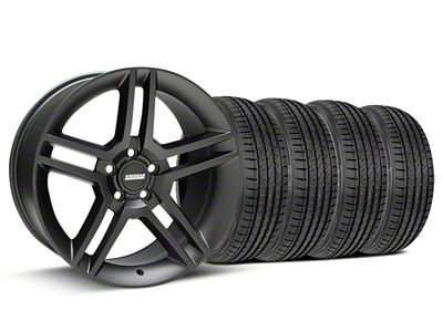 Staggered 2010 GT500 Style Matte Black Wheel & Sumitomo Tire Kit - 19x8.5/10 (15-19 GT, EcoBoost, V6)