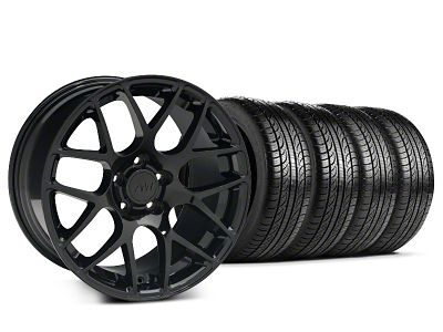 Staggered AMR Black Wheel & Pirelli Tire Kit - 19x8.5/10 (15-19 GT, EcoBoost, V6)