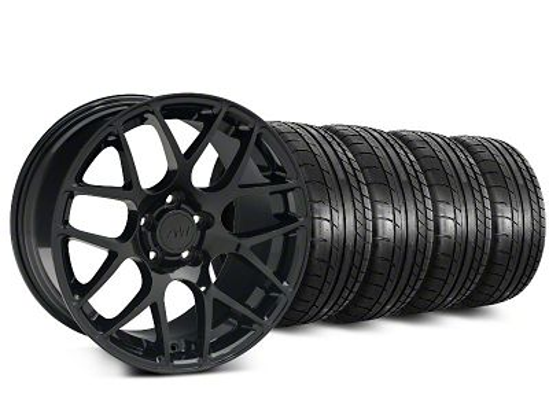 Staggered AMR Black Wheel & Mickey Thompson Tire Kit - 19x8.5/10 (15-19 GT, EcoBoost, V6)