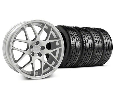 Staggered AMR Silver Wheel & Pirelli Tire Kit - 19x8.5/10 (15-19 GT, EcoBoost, V6)