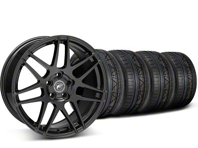 Staggered Forgestar F14 Monoblock Piano Black Wheel & NITTO INVO Tire Kit - 19x9/11 (15-19 GT, EcoBoost, V6)