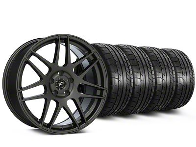 Staggered Forgestar F14 Monoblock Gunmetal Wheel & Mickey Thompson Tire Kit - 19x9/10 (15-19 All)