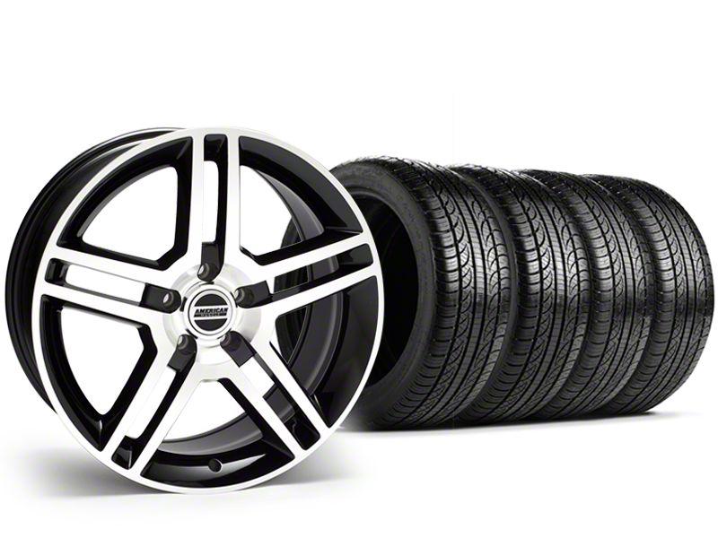 2010 GT500 Style Black Machined Wheel & Pirelli Tire Kit - 19x8.5 (15-19 All)