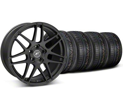 Staggered Forgestar F14 Monoblock Matte Black Wheel & NITTO INVO Tire Kit - 19x9/11 (15-19 GT, EcoBoost, V6)