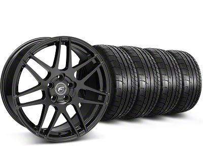 Staggered Forgestar F14 Piano Black Wheel & Mickey Thompson Tire Kit - 19x9/10 (15-19 GT, EcoBoost, V6)
